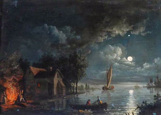 'River Scene with a Bonfire, Moonlight.' Photo: Hepworth Wakefield Gallery.