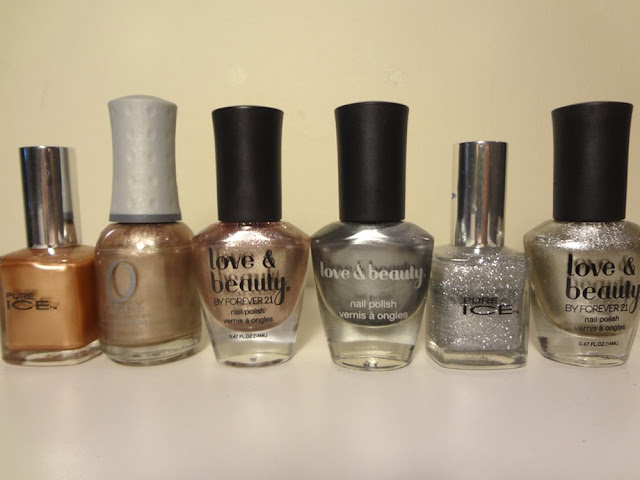 nail polishes, metallics, copper, bronze, pewter, gold, silver
