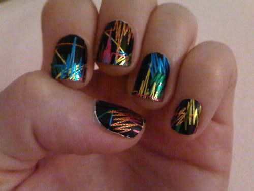 Colorful Striped Black Nail Art