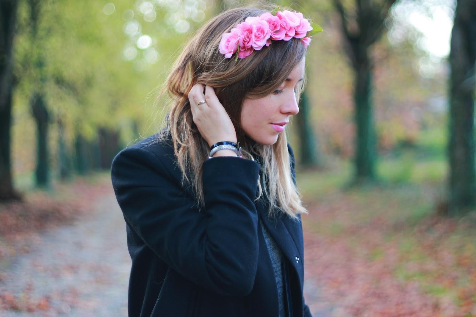 Couronne de fleurs rose