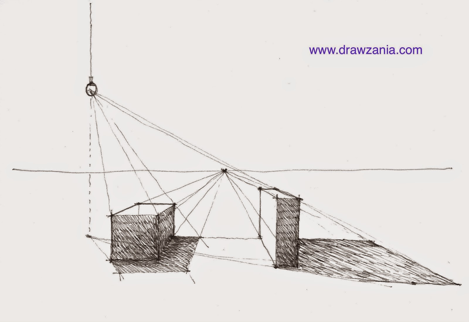Sketch draw shadow casting in one point perspective for Exterior 1 point perspective
