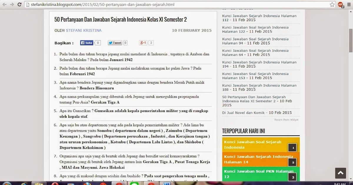 50 Pertanyaan Dan Jawaban Sejarah Indonesia Kelas Xi Semester 2 Nifafani
