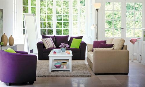 Welcome to my wonderland ambiances autour du violet for Salon couleur beige