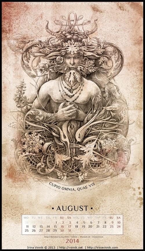 08-August-Irina-Vinnik-2014-Bestiary-Calendar-Design-www-designstack-co