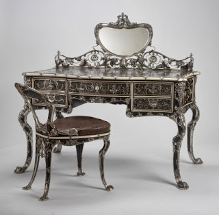 Lady's writing table and chair, Gorham Silver, 1903; at RISD Museum.