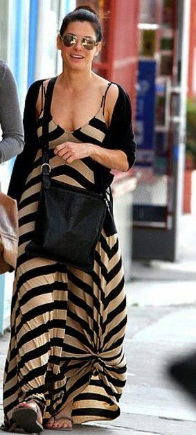 Moda - Maxissaia e maxivestido com nós - tendências verão 2015 vestido riscas