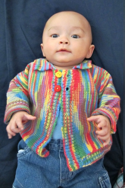 Marzipanknits Machine Knit Baby Sweater Using Sock Yarn