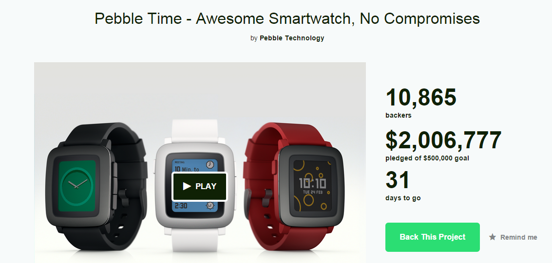Nuevo Smartwatch Pebble Time ya en Kickstater.