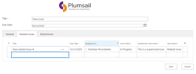 New SharePoint form with related items.