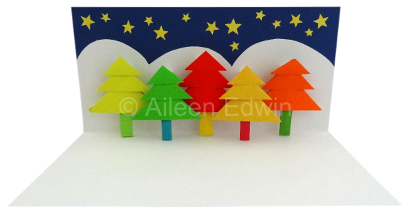 Origami Pop-Up Christmas tree card