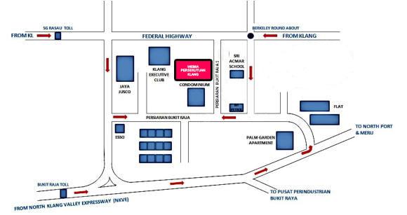 Wisma Persekutuan Klang Map ke Wisma Persekutuan Klang