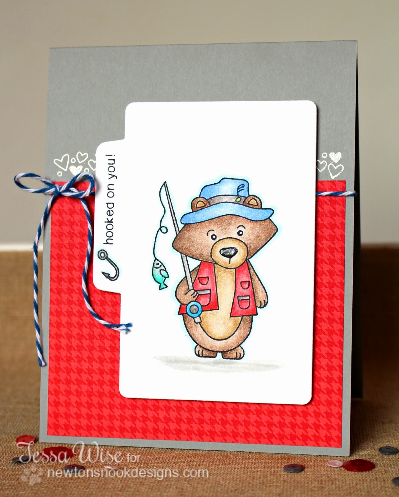 Fishing Bear Card using Campfire Tails Stamp set by Tessa Wise for Newton's Nook Designs