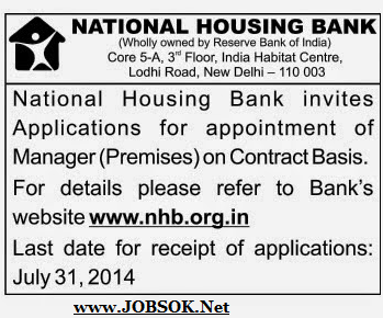 NHB Recruitment 2014 Manager jobs opening jOBSApply