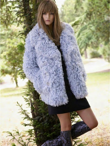 Gucci 2014 AW Light Blue Shearling Coat