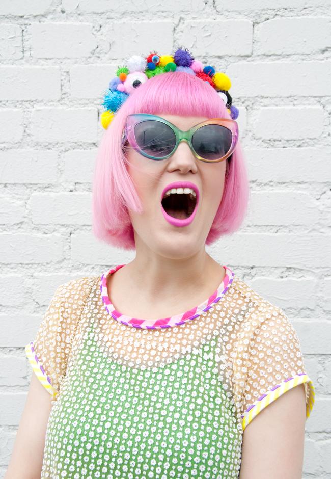 temptress of waikiki, pompom headband, pink hair