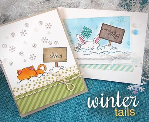 Let it Snow Cards with Cat and Bunny by Jennifer Jackson for Newton's Nook Designs | Winter Tails Stamp Set