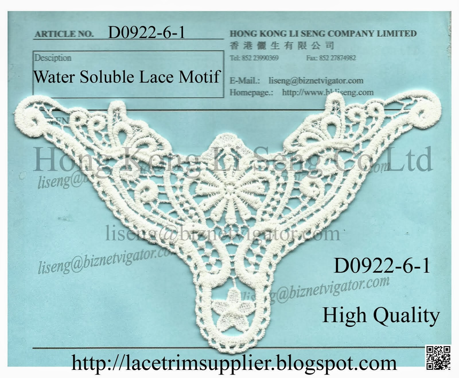 High Quality Water Soluble Lace Motif Manufacturer Wholesale and Supplier -Hong Kong Li Seng Co Ltd