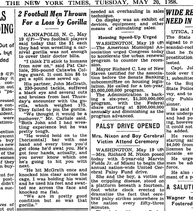 may 20 1958 new york times article about gorilla wrestling