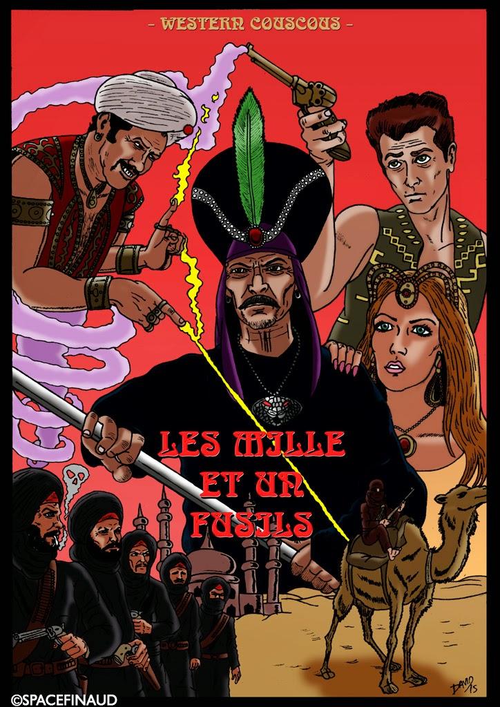 """Aladdin, Aladeux et Alatrois, je vous présente mon dernier travail. Au cinéma, il y'a eu le western allemand, bien avant le western italien, que je ne vous présente plus. Le western allemand, on l'appelait le Western """"Choucroute"""". Après le western italie, le Western """"Spaghetti"""". Et maintenant, j'ai eu l'idée de dessiner le Western """"Couscous"""".  Alors pourquoi ? Tout simplement parce que je voyais bien le physique de Lee Van Cleef dans la peau de Jaffar, il ferait un bon méchant assoiffé de pouvoirs. Eli Wallach, ferait un bon génie du flingue magique que tient dans sa main, l'inoubliable Clint Eastwood. Et ce dernier serait même capable d'abattre les quarante bandits de l'Ouest d'Arabie."""