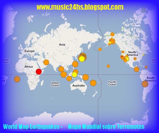 MAPA MUNDIAL con la última información sobre Temblores del Mundo