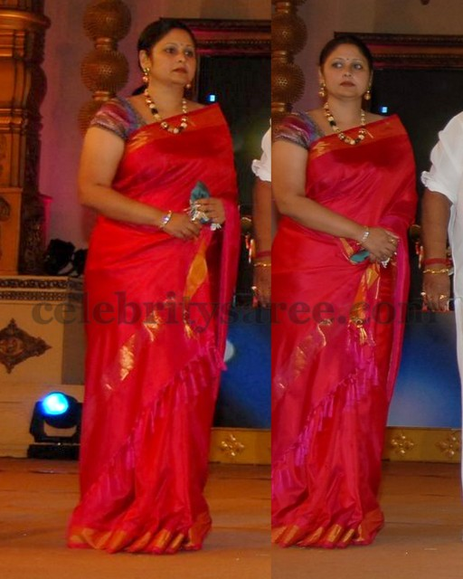 Jayasudha Silk Saree In Reddish Pink Saree Blouse Patterns