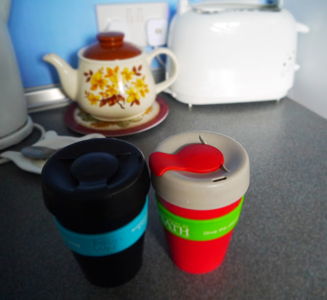 Travel cups of tea and coffee