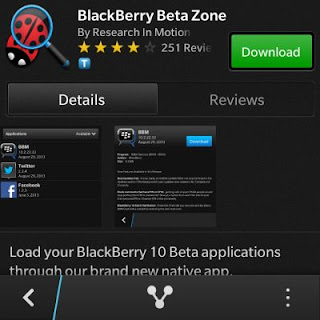 Aplikasi BlackBerry Beta Zone