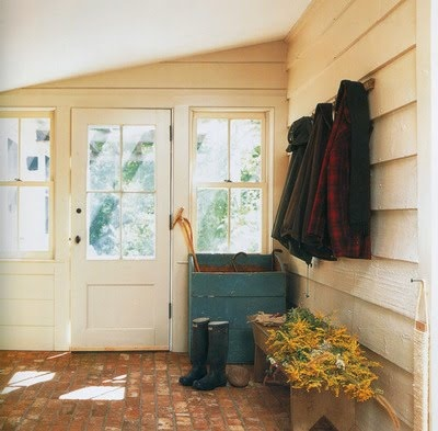 The french tangerine brick flooring for Mudroom floor