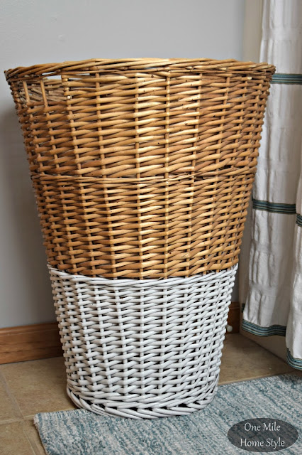 Paint Dipped Hamper Makeover Using Spray Paint - One Mile Home Style