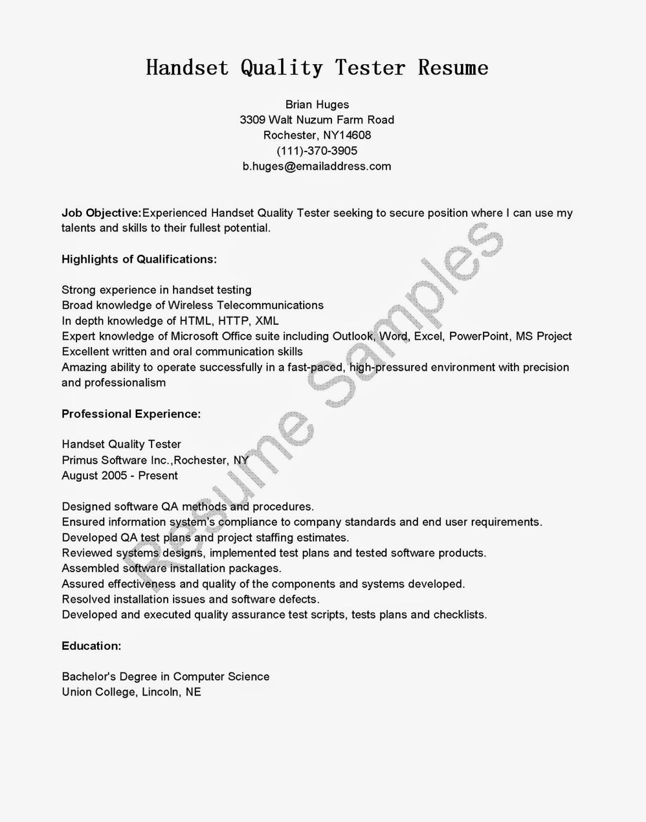 Sample Qa Resumes Resume CV Cover Letter