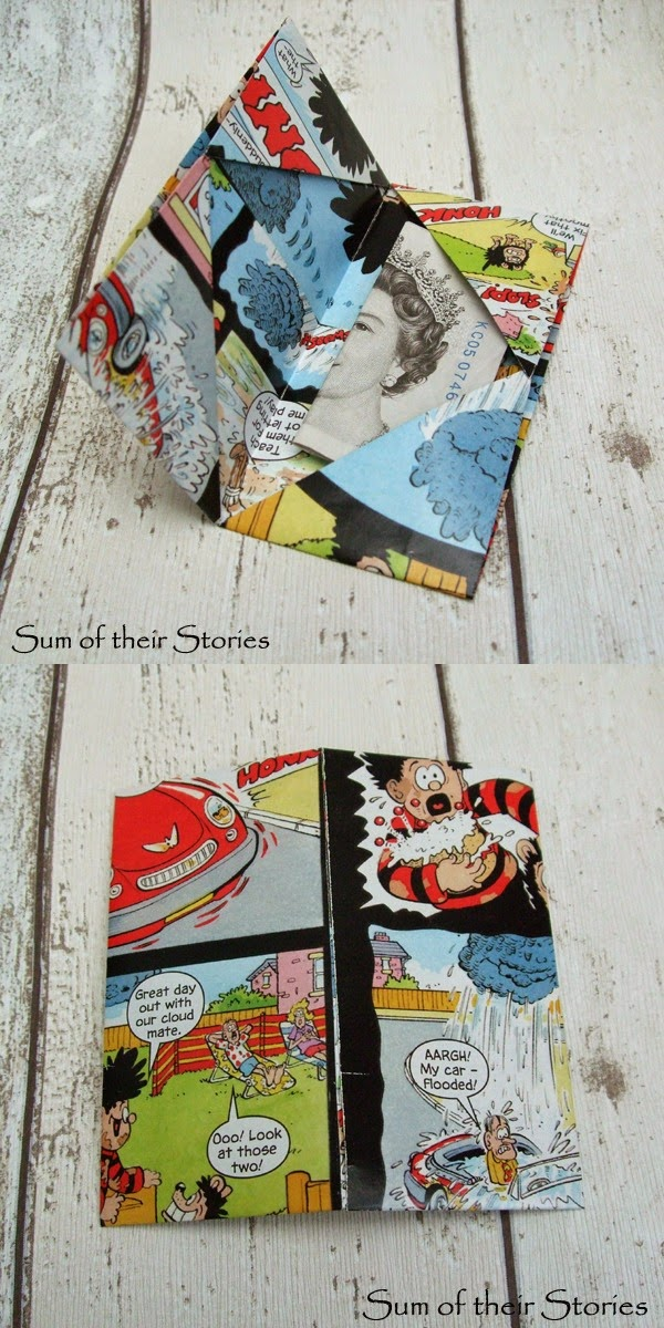 Origami Cash Gift Wallet made from an old comic page