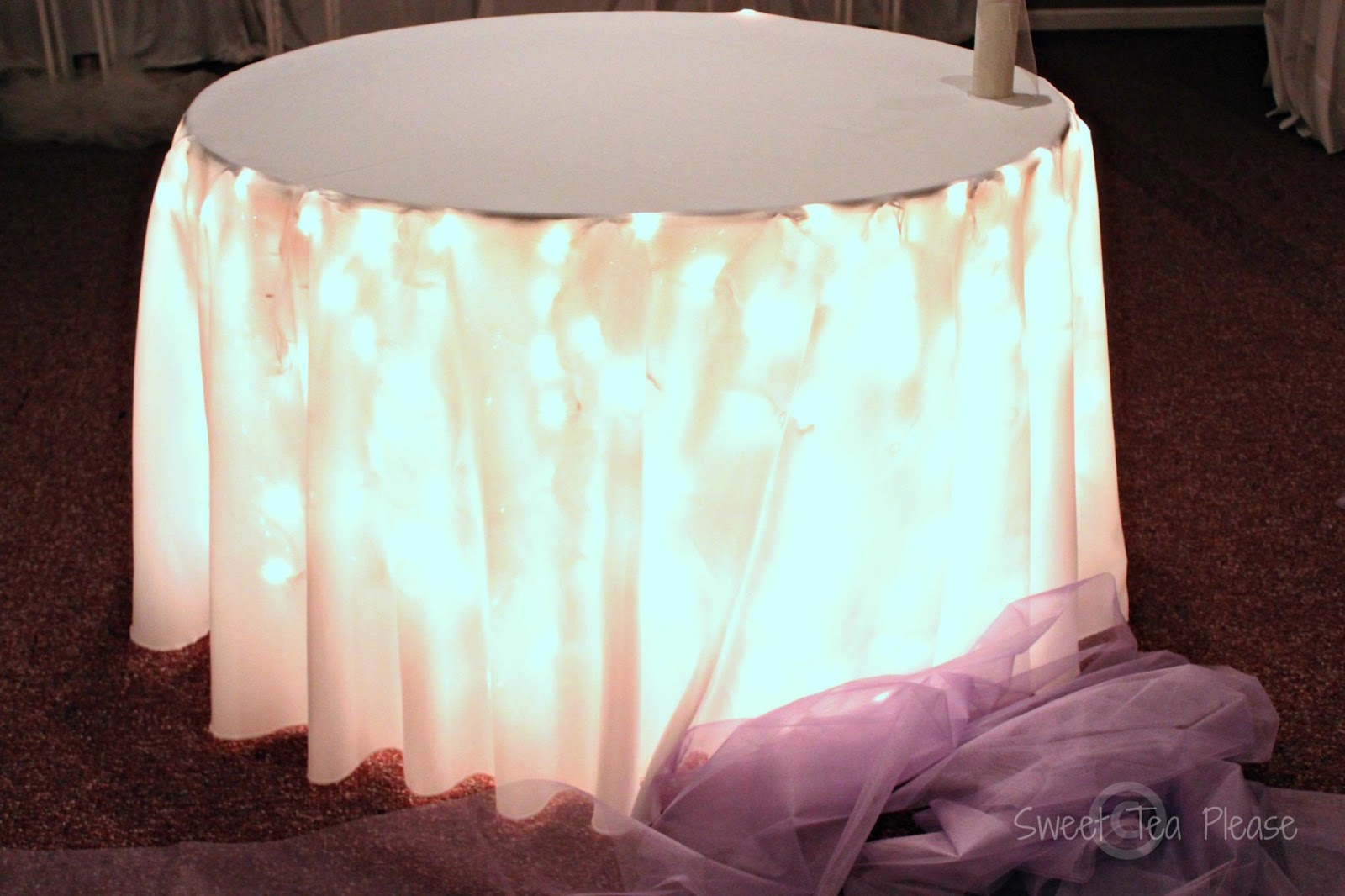 Next We Covered The Table With A White Table Cloth That Reached To The  Floor. The Light Effect This Produced Was Beautiful!