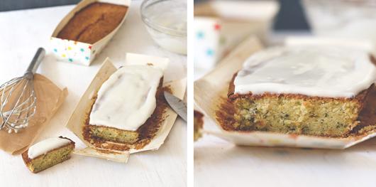 Kuchen mit Zucchini und Glasur