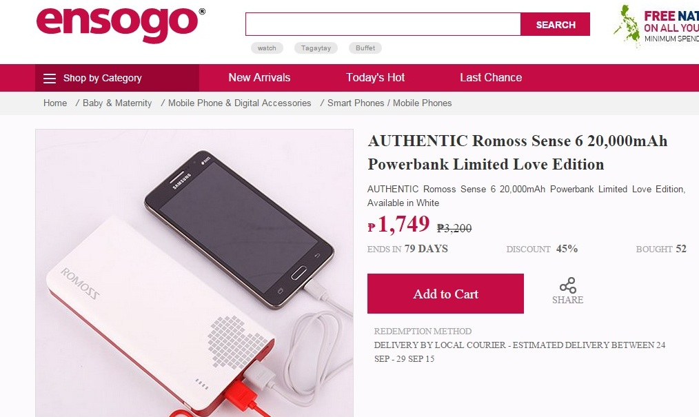 That is why you should check out the limited-time offer of Romoss Sense 6  20,000mAh Powerbank Limited Love Edition in Ensogo before stock runs out.