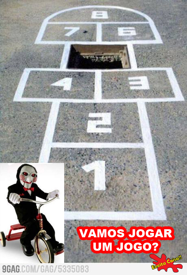 jogo, jigsaw, amarelinha, buraco, eeeita coisa