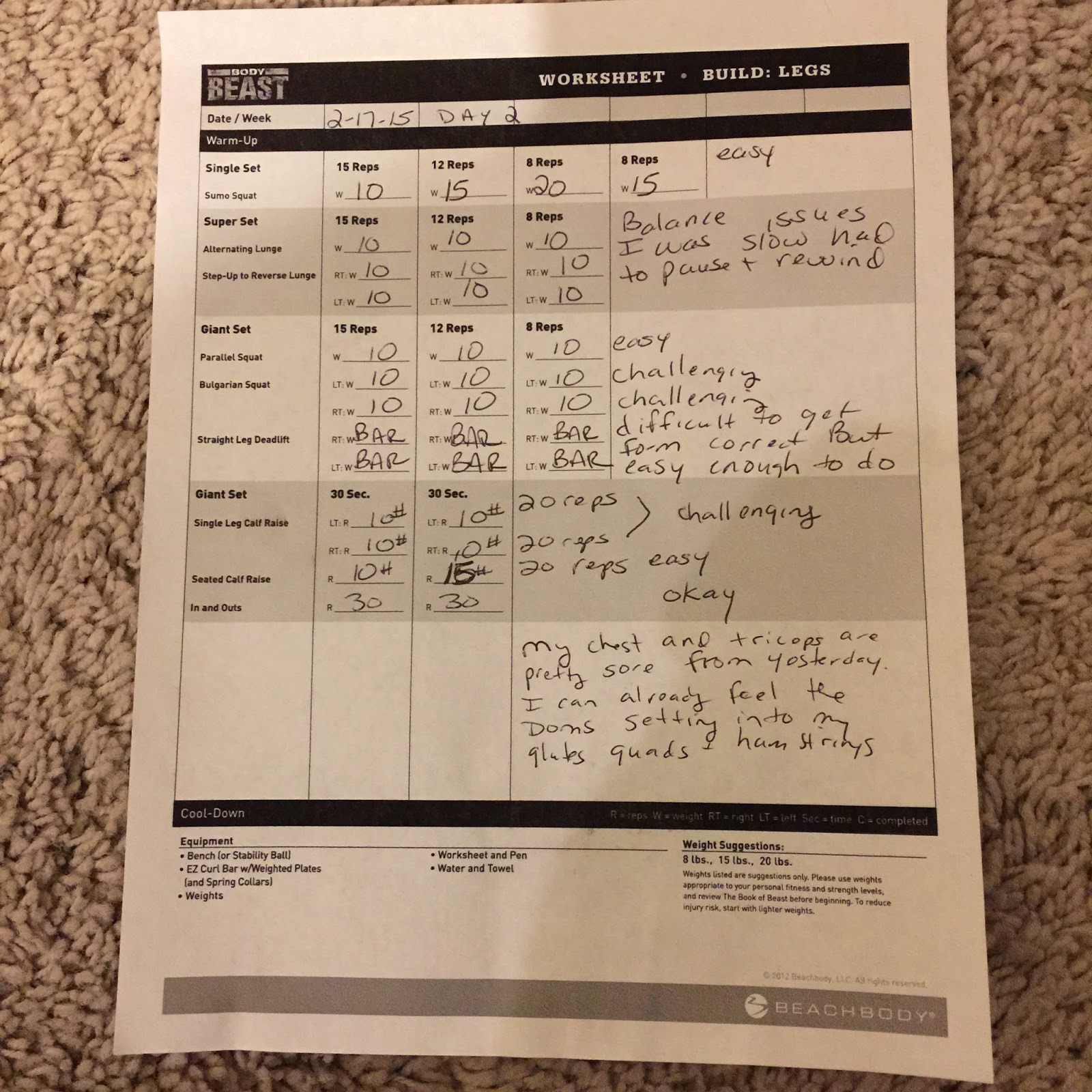 Trapped in a Fat Chick Beachbody Body Beast Day 2 Build Legs – Beast Workout Sheet