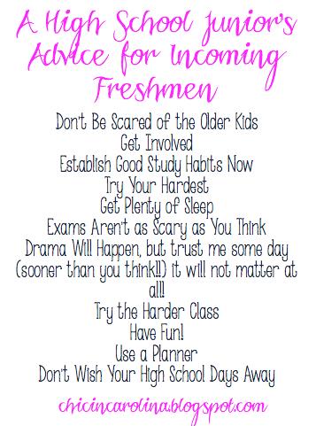 High school freshman advice essay