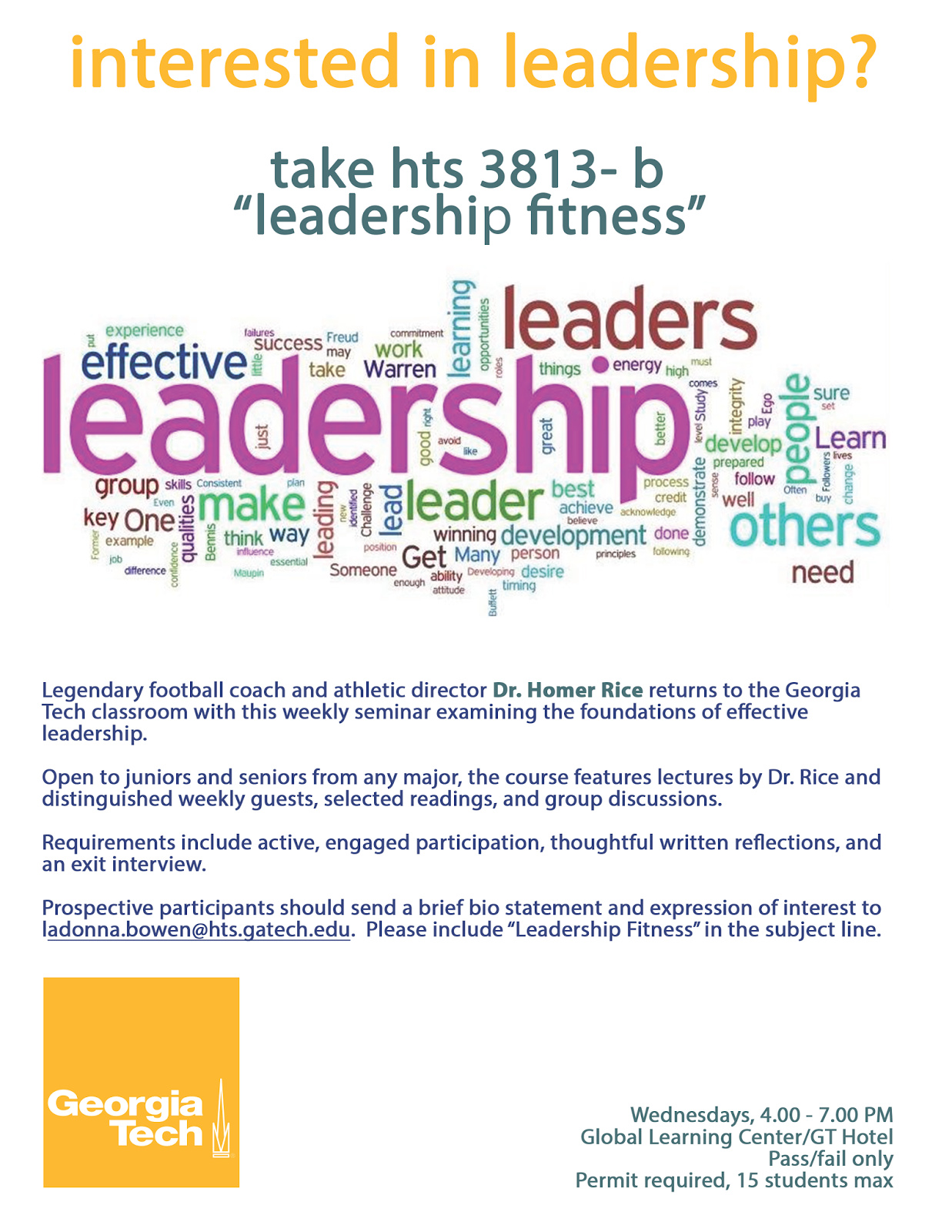 GT-HSOC Student Blog: Exciting Leadership Class with Dr. Homer Rice