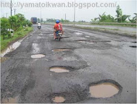Jalan Aspal rusak berat