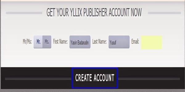 Membuat akun di Yllix media