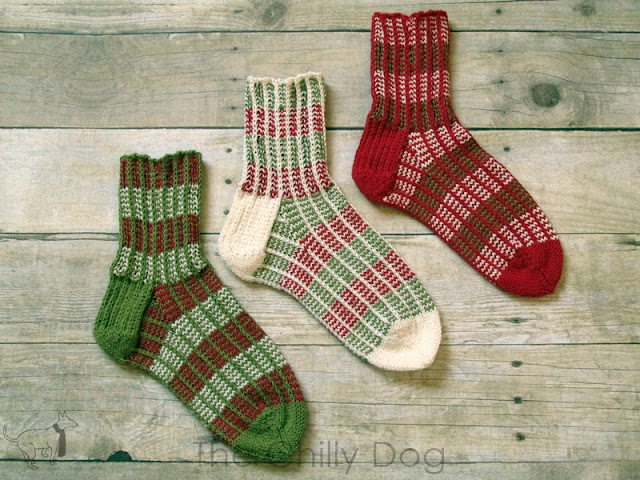 Free Knitting Pattern: Make a trio of striped, red, green and white knit socks to share your Christmas spirit!