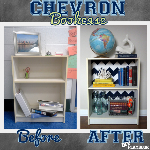 DIY Chevron Pattern Bookcase
