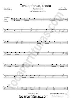 Trombón, Tuba Elicón y Bombardino Partitura de Tengo, tengo, tengo Canción popular infantil  Sheet Music for Trombone, Tube, Euphonium Music Scores (tuba en 8ª baja)