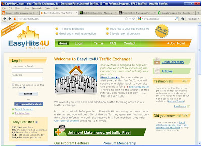 easyhit4u , traffic exchange , blogger , bisnis online , social