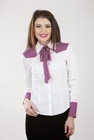 Camasa alba din bumbac cu imprimeu inimioare 2091 (Ama Fashion)
