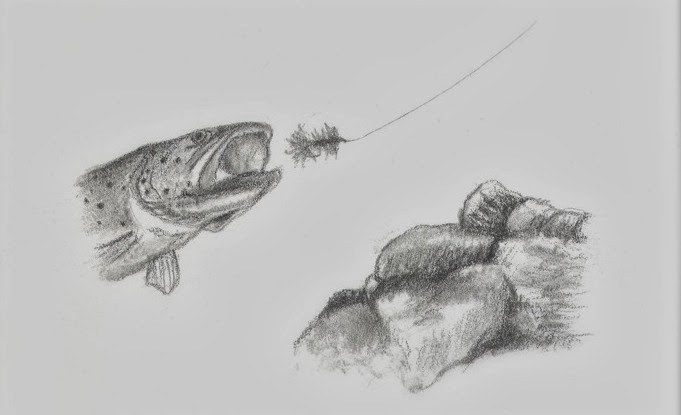 fly fishing drawing - photo #18