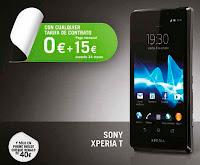Sony Xperia T Yoigo por 0 euros con un cheque regalo de 40 euros en Phone House - Febrero 2013