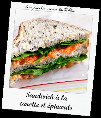 Sandwich à la carotte et épinards