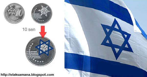 nukilan kehidupan syiling malaysia logo israel