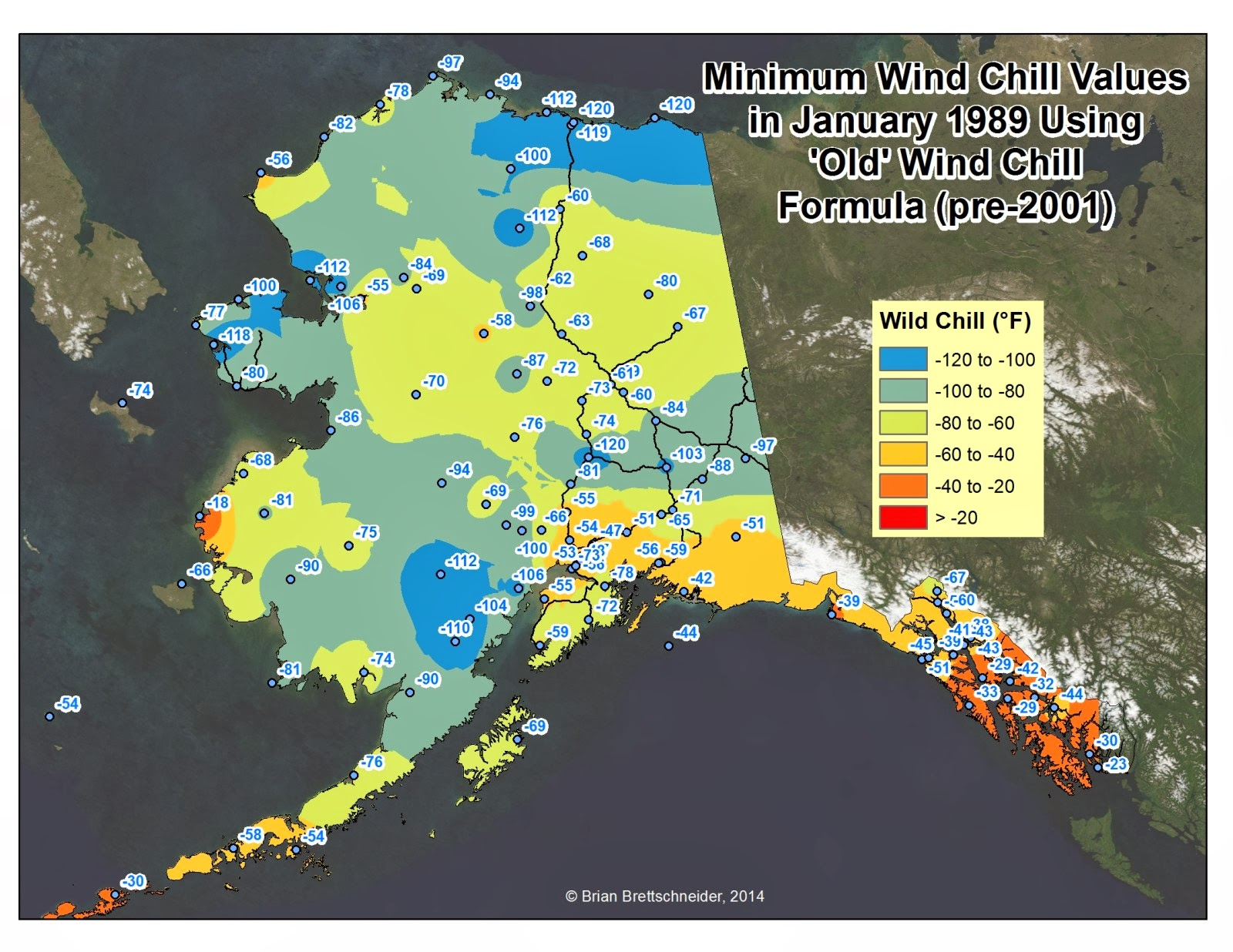 Minimum Wind Chills In January 1989 For All Stations In Alaska That  Reported Hourly Observations Using The Old Formula In Many Cases  Observations Are
